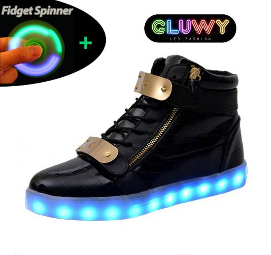 824b1a25931edd Light up Shoes LED - Black and gold