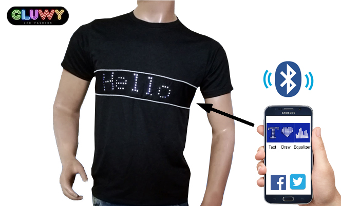 659d8e2119b7 LED T-shirt with programmable text via Smartphone - GLUWY | Cool Mania