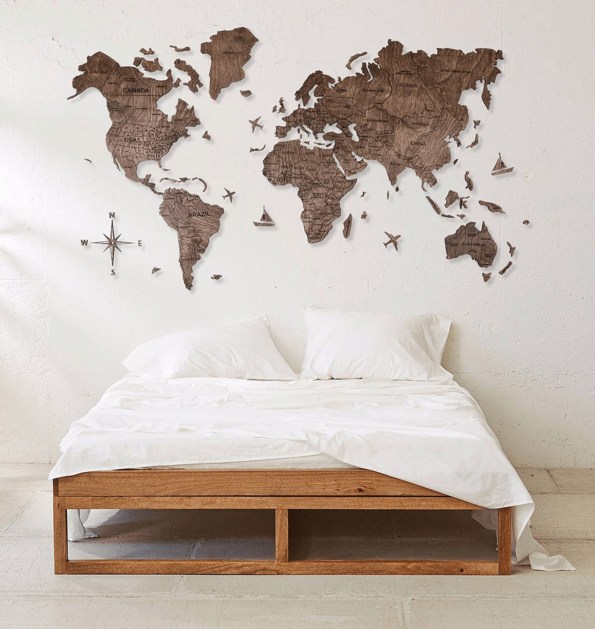 wooden world map on the wall