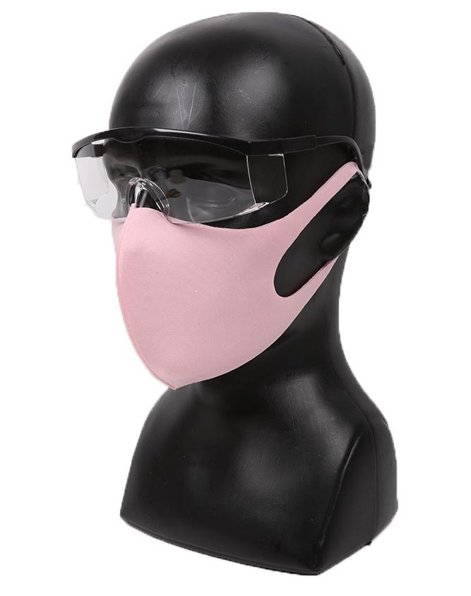 pink elastic face mask with glasses